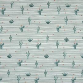 Tissu Popeline imprimé Cactus vert céladon Oeko tex