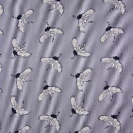 Tissu Popeline Stretch à rayures bleus et blanches imprimé Grues