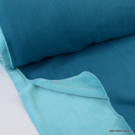 Tissu Sweat Bleu pétrole envers Minky turquoise .x1m