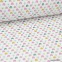 Tissu coton imprimé arc en ciel bleu et rose