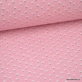 Tissu coton imprimé petites fleurs fond Rose