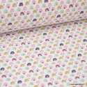 Tissu coton imprimé arc en ciel moutarde, prune et rose