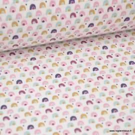 Tissu coton imprimé arc en ciel moutarde et rose
