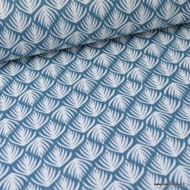 Tissu coton imprimé Feuilles fond Pétrole Oeko tex