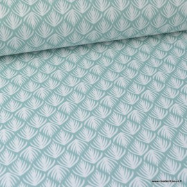 Tissu coton imprimé Feuilles fond Menthe Oeko tex