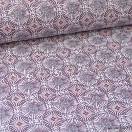 Tissu coton imprimé cercles géométriques Prune et Menthe