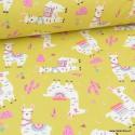 Tissu coton imprimé Lamas et cactus fond Pistache