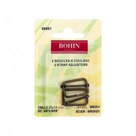 Boucles à coulisses 20 x 14mm finition Bronze Bohin