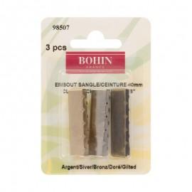 Embout de sangle ou de ceinture 40mm finition acier, doré et argent Bohin