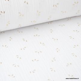 Tissu Double gaze coton Glitter éclats dorés coloris BLANC. x1m