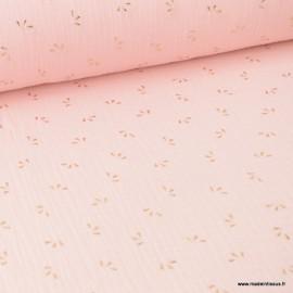 Tissu Double gaze coton Glitter éclats dorés coloris Rose Blush. x1m