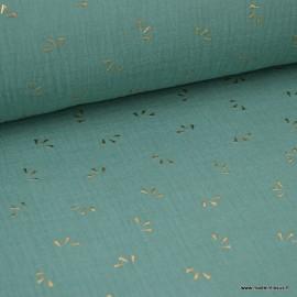 Tissu Double gaze coton Glitter éclats dorés coloris Céladon