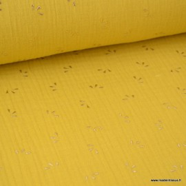 Tissu Double gaze coton Glitter éclats dorés coloris Moutarde. x1m