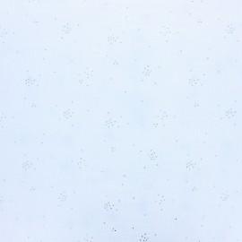 Tissu Double gaze coton Glitter pluie d'éclats Argentés coloris Blanc. x1m