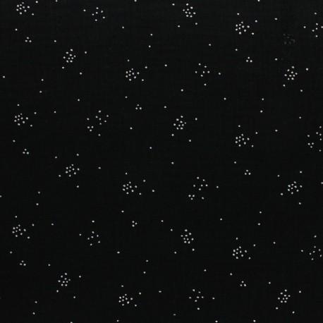 Tissu Double gaze coton Glitter pluie d'éclats Argentés coloris Noir. x1m