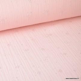 Tissu Double gaze coton Glitter pluie d'éclats Argentés coloris Rose Blush. x1m