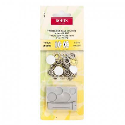 Pressions sans couture Tissus Légers 14mm avec jeu de pose Blanc - Bohin