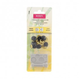 Pressions sans couture Tissus Légers 14mm avec jeu de pose Noir- Bohin