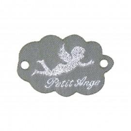 """Etiquette tissée à coudre forme nuage message """"Petit Ange"""" 20x45mm"""