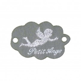 """Etiquette tissée à coudre forle nuage message """"Petit Ange"""" 20x45mm"""