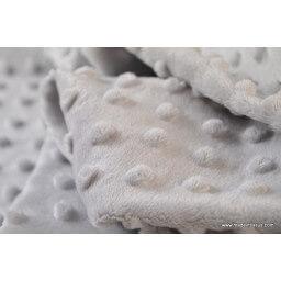 Tissu minky gris pois x50cm
