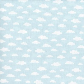 Tissu coton oeko tex imprimé nuages blancs sur fond Glacier .x1m
