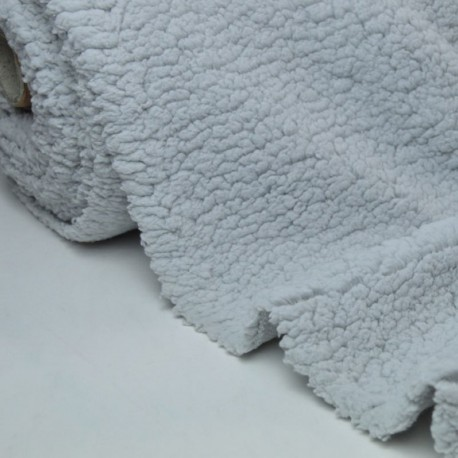 Tissu Fausse Fourrure maille SHERPA GRIS