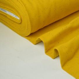 Tissu Jersey molleton fantaisie cosy jaune .x1m