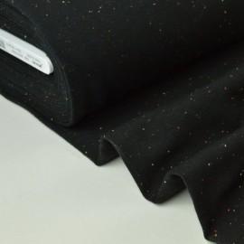 Tissu Jersey molleton fantaisie cosy noir .x1m