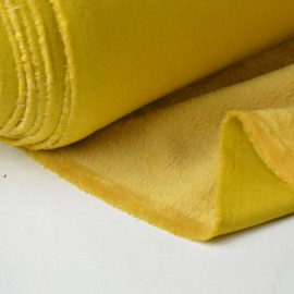 Tissu Sweat envers Minky doudou moutarde polyester coton elasthanne .x1m