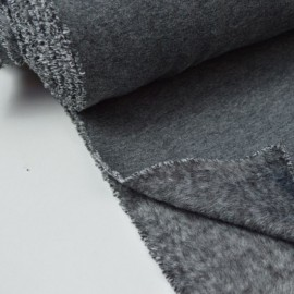 Tissu Sweat envers Minky gris anthracite polyester coton elasthanne .x1m