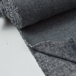 Tissu Sweat doudou gris anthracite