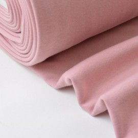 Tissu Sweat envers Minky  rose poudré .x1m