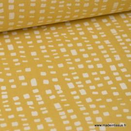 Tissu 100%coton imprimé graphique SADI carrés blancs sur jaune  x1m