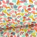 Tissu coton imprimé feuilles tropicales et Léopards Menthe et Corail