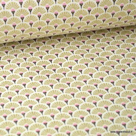 Tissu coton imprimé éventails écailles - Or
