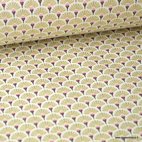 Tissu coton imprimé éventails - Or