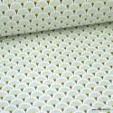 Tissu coton imprimé éventails écailles - Menthe