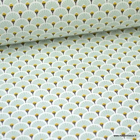 Tissu coton imprimé éventails - Menthe