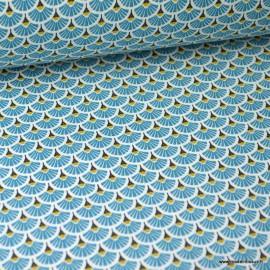 Tissu coton imprimé éventails écailles - Canard
