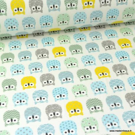 Tissu coton imprimé petits hiboux Menthe, Gris et Bleu