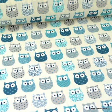 Tissu coton imprimé petits hiboux Bleu canard