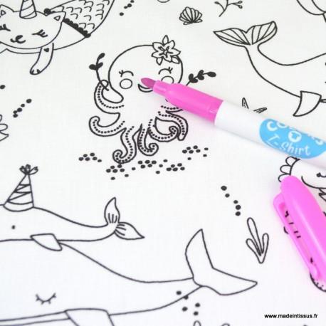 Tissu coton à colorier Beluga motifs animaux de la mer