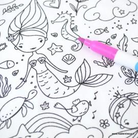 Tissu coton à colorier motifs Princesses et Sirènes