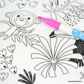 Tissu coton à colorier motifs Perroquets et Paresseux