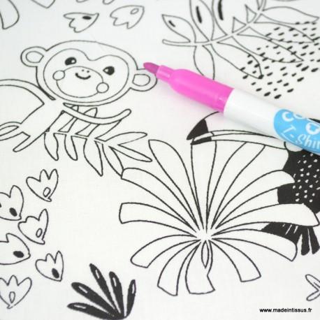 Tissu coton à colorier motifs Peroquets et Paresseux