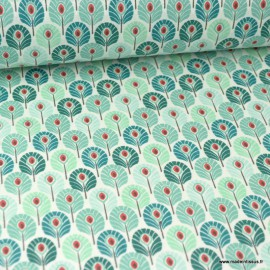 Tissu coton imprimé Mini plumes de Paon Canard