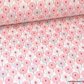 Tissu coton imprimé Mini plumes de Paon Rose et gris