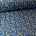 Tissu jacquard Habillement et ameublement motifs Wax Orange et Bleu