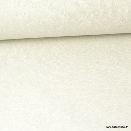 Tissu toile Polycoton Cubex Ecru lurex Argent